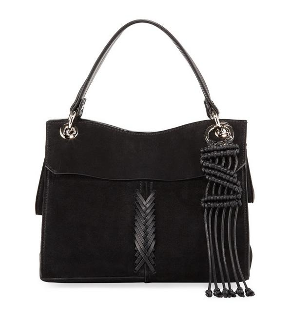 Item - Curl Light-suede with Crochet Black Suede Leather Satchel