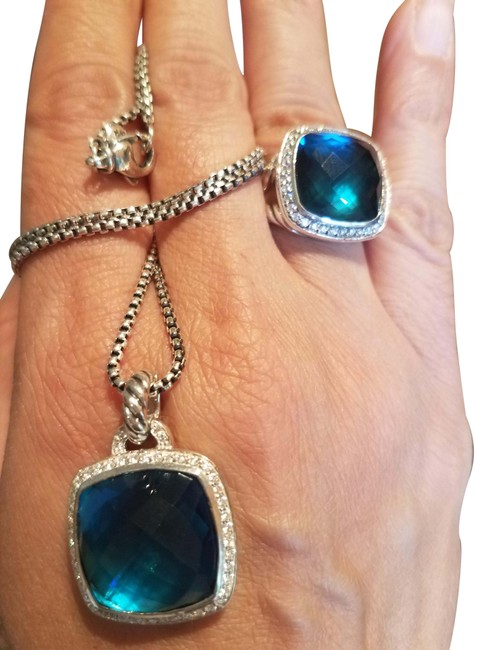Item - Hampton Blue Sterling/Silver Daimond Pendant and Ring Necklace
