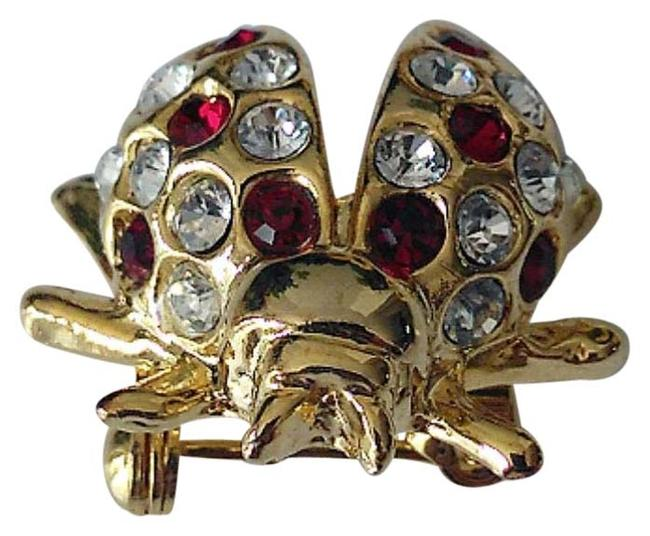 Item - Gold Tone/Red Crystals Ladybug Brooch/Pin
