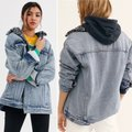 Free People Blue Gray Wild Ones Faux Shearling Trucker Jacket Size 12 (L) Free People Blue Gray Wild Ones Faux Shearling Trucker Jacket Size 12 (L) Image 4