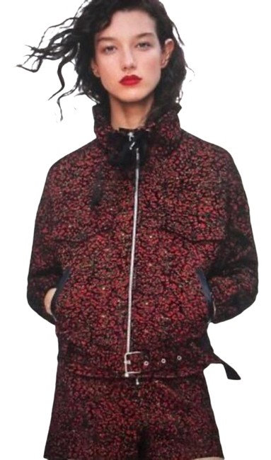 Item - Black Red And Animal Print Jacquard Moto Jacket Size 0 (XS)