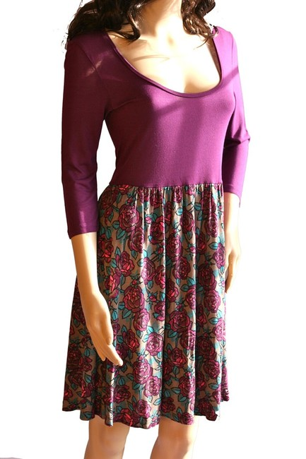 Frenchi short dress Purple Floral Nordstrom Floral Sleeve Ballerina Neck Ballet Neck Stretchy Teal Gray Pink Turquoise Blue Unlined Rayon Women Clothing on Tradesy