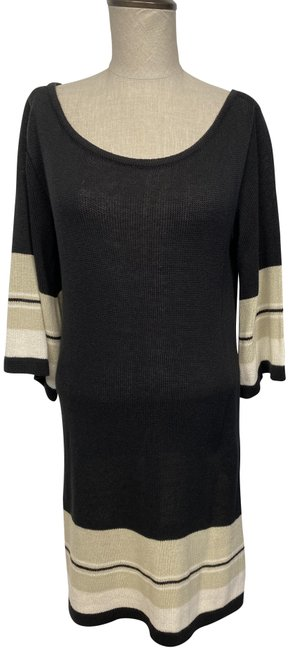 Item - Black/Tan/Cream Or Night Out S/M Mid-length Short Casual Dress Size 6 (S)