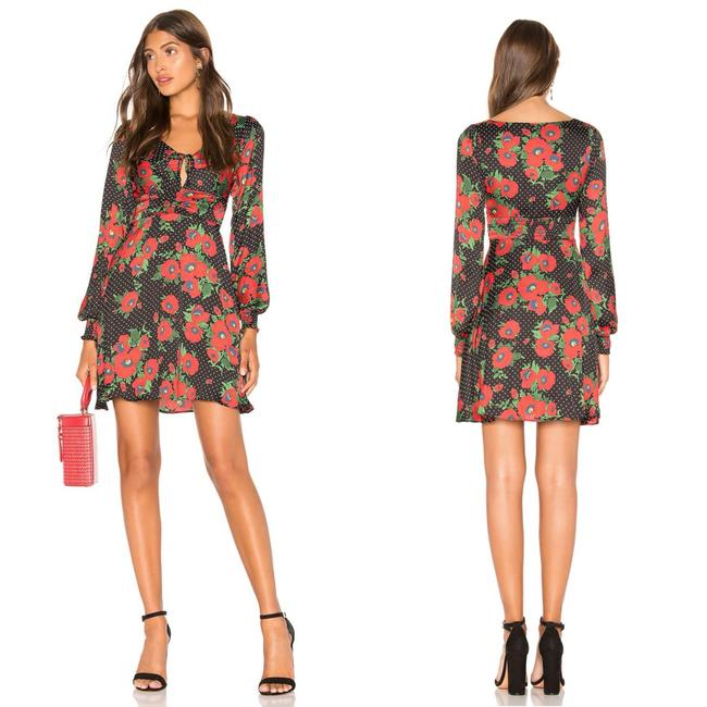 Free People Black/Red Morning Mini In Short Night Out Dress Size 8 (M) Free People Black/Red Morning Mini In Short Night Out Dress Size 8 (M) Image 1