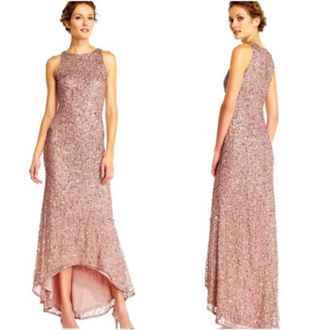 Item - Rose Gold High Low Sequin Beaded Halter Gown Long Casual Maxi Dress Size 12 (L)