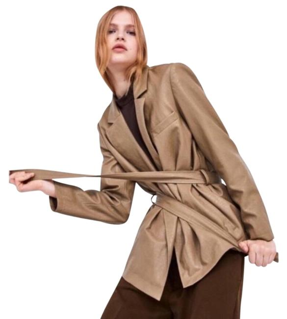 Item - Tan Faux Leather Belted In Taupe Blazer Size 8 (M)