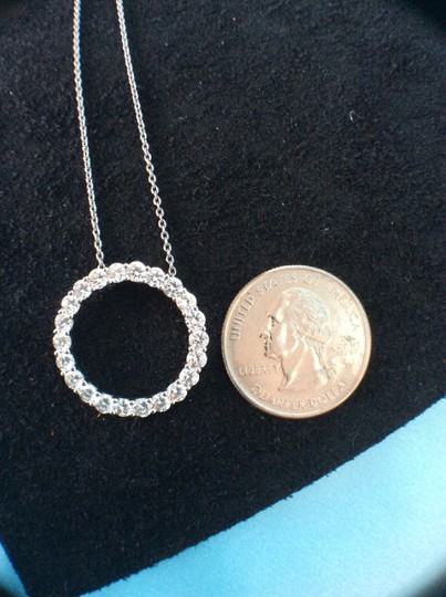 Other CZ circle pendant in platinum plated sterling