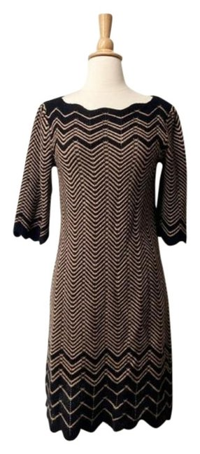 Item - Black Tan Zigzag Knit Sweater Mid-length Work/Office Dress Size 8 (M)