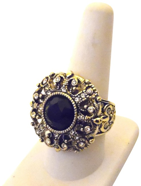 """Item - Bronzetone Black """"How Suite It Is"""" Crystal Size 8 Ring"""