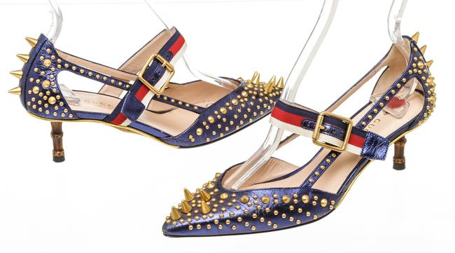 Item - Blue and Gold Rc 500415 Unia Studded Buckle Strap Pumps Size EU 36 (Approx. US 6) Regular (M, B)