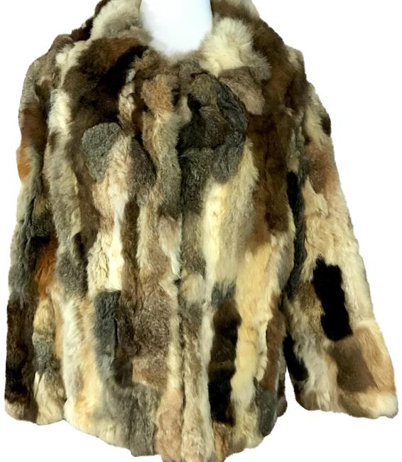 Item - Brown 1980's Patchwork Rabbit Coat Size 6 (S)
