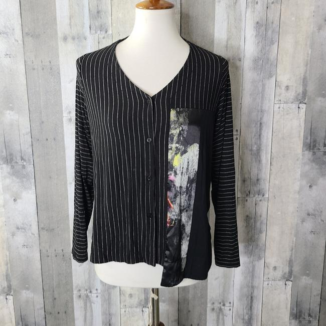 Item - Black Button Down Long Sleeve Blouse Size 4 (S)