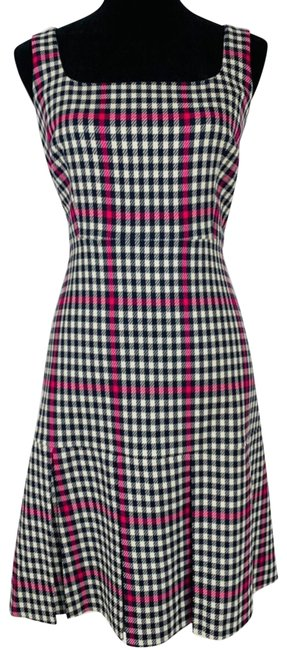 Item - Navy Pink Scoopneck Fit Flare Herringbone Twill Pleated Mid-length Work/Office Dress Size 8 (M)