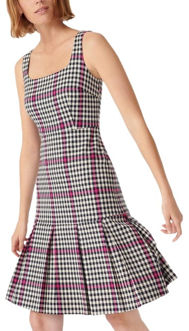 Item - Navy Pink Scoopneck Fit Flare Herringbone Twill Tall Lined Pleated Mid-length Work/Office Dress Size 8 (M)