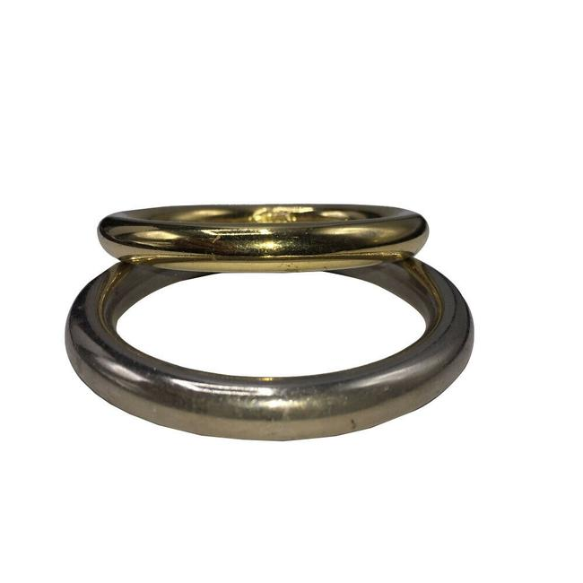 Item - Gold Silver Tone and Tone Smooth Bangle Pair Bracelet