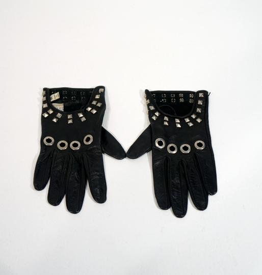 Versace Versace Black Leather Studded Moto Driving Motorcycle Gloves.