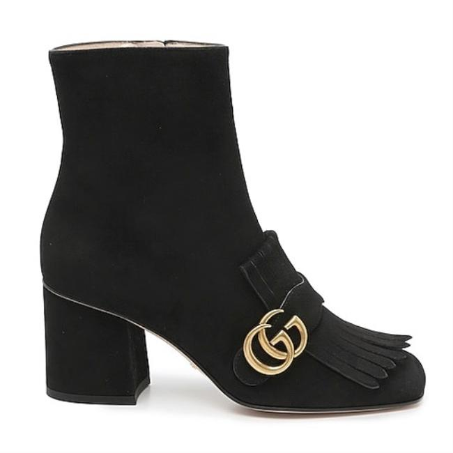 Item - Black Marmont Gg Logo Fringed Suede Leather Boots/Booties Size EU 34.5 (Approx. US 4.5) Regular (M, B)