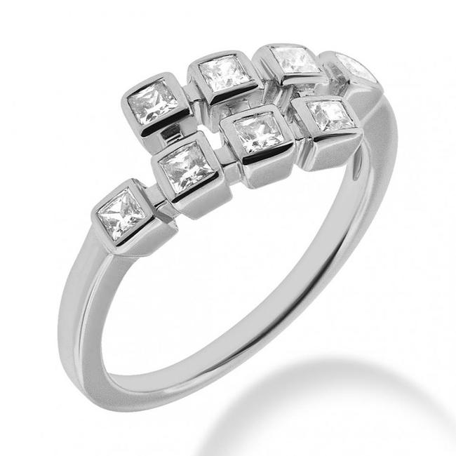 Item - White 1.60 Ct. Ladies Priness Cut Anniversary In Bezel Mounting Ring