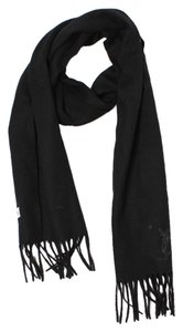 Saint Laurent Yves Saint Laurent Black Wool Monogram Fringe Scarf.
