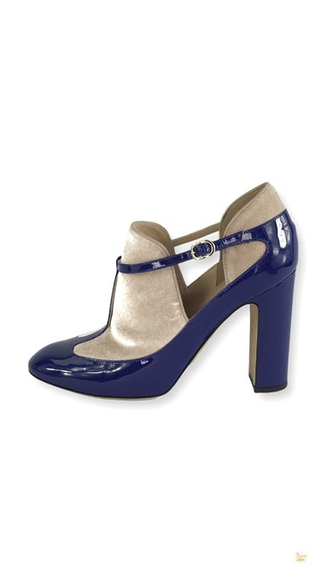 Item - Blue Nude Velvet Patent Leather Mary Jane Heels 31070 Pumps Size EU 38 (Approx. US 8) Regular (M, B)