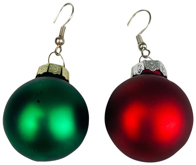 Item - Red and Green Holiday Globe Ball Matte Earrings