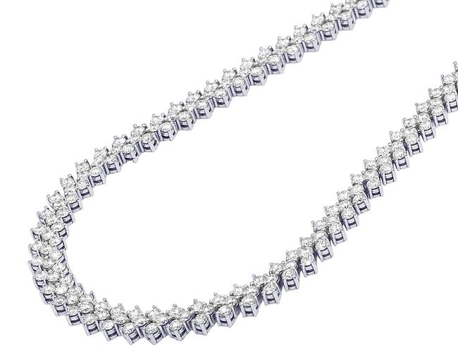 """Item - 10 White Gold Pointer Real Diamond 3 Row Martini Tennis Chain 21"""" 8.5mm 35ct Necklace"""