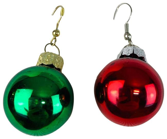 Item - Red and Green Holiday Globe Ball Ornament Shiny Earrings