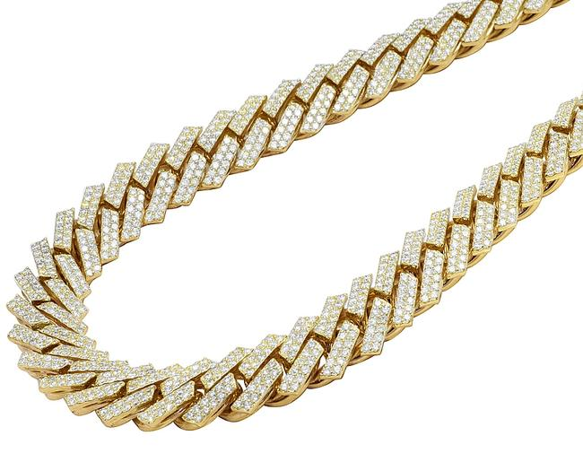 """Item - 10k Yellow Gold Real Diamond 2 Row Square Cuban Chain 48.75ct 18mm 22"""" Necklace"""