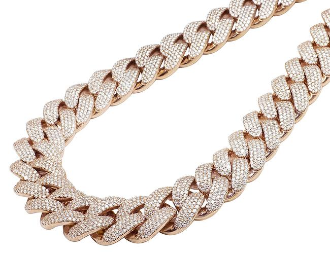 """Item - 10k Rose Gold Real Diamond Two Row Prong Miami Cuban 65.6ct 23mm 22"""" Necklace"""