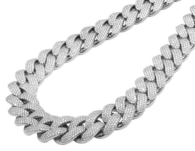 """Item - 10k White Gold Men Solid Real Diamond Two Row Prong Miami Cuban 65.6ct 23mm 22"""" Necklace"""