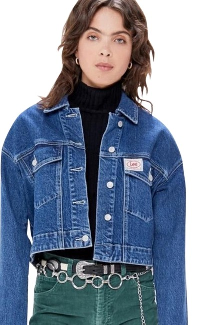 Item - Blue Cropped Trucker Jacket Size 4 (S)