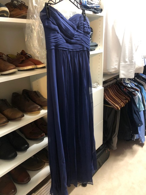 Ann Taylor Navy Silk Full Length Gown - Only Worn Once Formal Bridesmaid/Mob Dress Size 10 (M) Ann Taylor Navy Silk Full Length Gown - Only Worn Once Formal Bridesmaid/Mob Dress Size 10 (M) Image 2