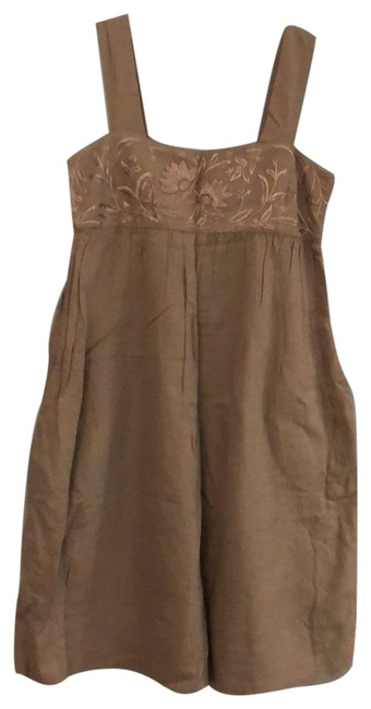 Item - Taupe Brown Bandeau with Straps Mid-length Short Casual Dress Size 10 (M)
