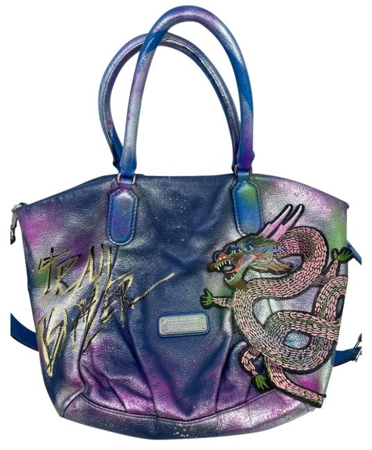 Item - Bag W Large Customized Dragon Applique Multi Color Leather Tote