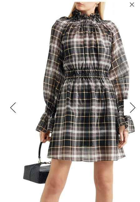 Item - Galileo Ruffled Plaid Cotton and Silk-blend Voile Mini Mid-length Short Casual Dress Size OS