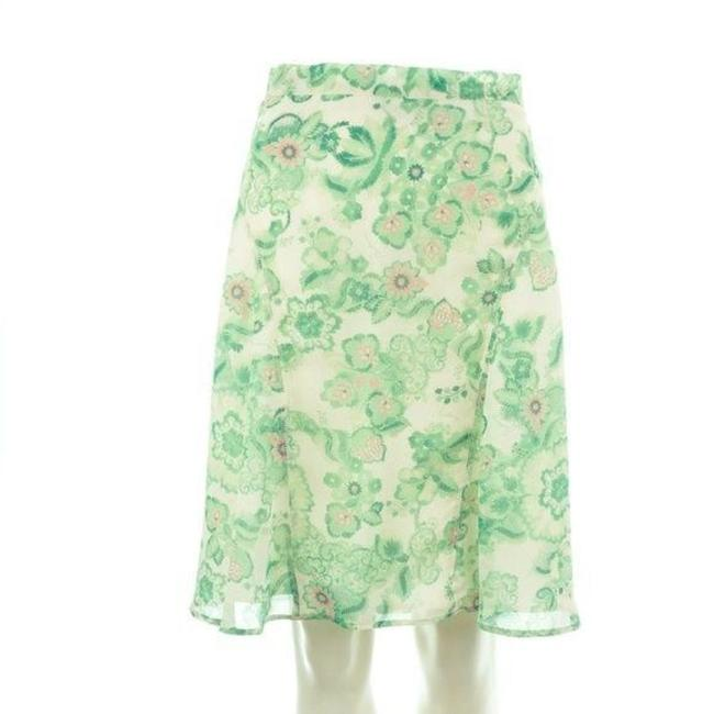Item - Green/Pink/White Floral Silk Skirt Size 6 (S, 28)