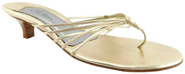 Item - Gold Leather Strappy Thong Sandals Size US 6.5 Regular (M, B)