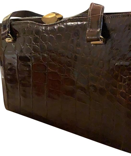 Item - Handbag Brown Alligator Skin Leather Clutch