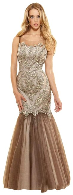Item - Taupe P3117 Prom Evening Sleeveless Tulle Gown Long Formal Dress Size 4 (S)