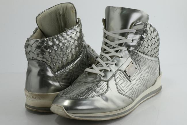 Item - Silver Woven Leather Lace High Top Sneakers Shoes