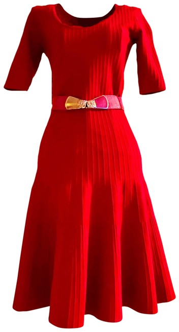 Item - Red Bandage Flare Mid-length Night Out Dress Size 0 (XS)
