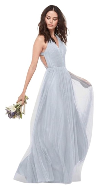 Item - Blue Bridesmaid Gown 444 French Long Formal Dress Size 6 (S)