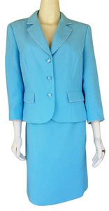 John Meyer of Norwich JOHN MEYER Pale Aqua Blue Career Skirt Suit 16