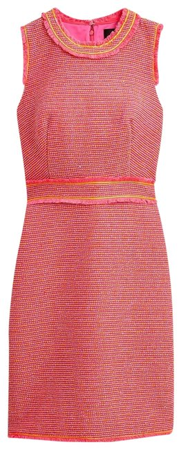 Item - Orange Pink Sheath In Neon Tweed Knee Length Pockets Mid-length Work/Office Dress Size 10 (M)