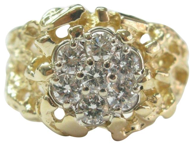 Item - Yellow Gold Circular Nugget Cluster Diamond Solid 14kt 1.00ct G-v Ring
