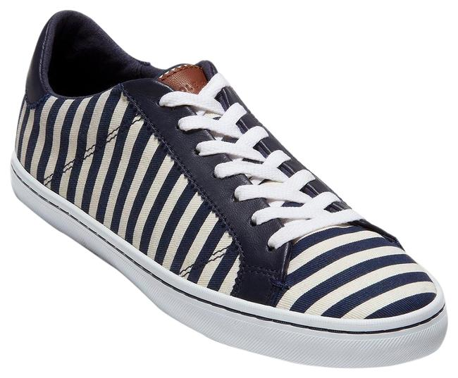 Item - Navy Blue White Stripes Margo Lace Up Leather Sneakers Size US 7.5 Regular (M, B)