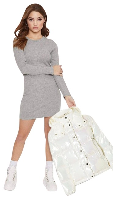 Item - Heather Gray Long Sleeve Cotton T-shirt Dress-nip Short Casual Dress Size 12 (L)