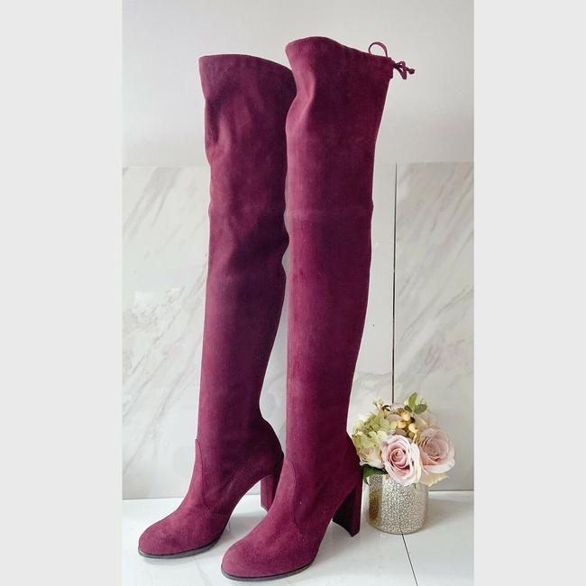 Item - Burgundy Red Highland Heel Over The Knee Stretch Boots/Booties Size US 10 Regular (M, B)
