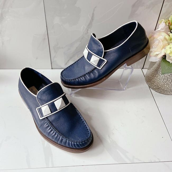 Item - Blue Garavani Rockstud Flats Loafers Navy Leather Pumps Size US 7 Regular (M, B)