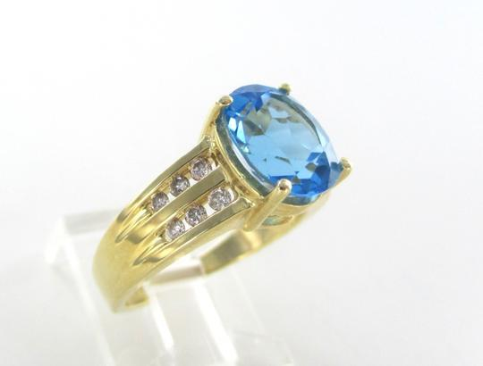 Other 14KT SOLID YELLOW GOLD RING 12 DIAMONDS 1 BLUE STONE TOPAZ SZ 7 ENGAGEMENT BAND